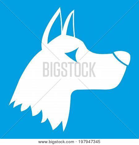 Doberman dog icon white isolated on blue background vector illustration