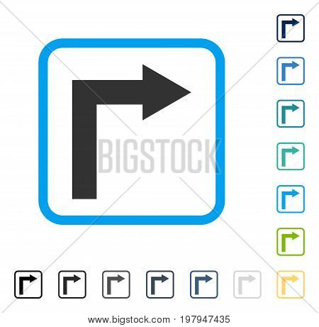 Turn Right icon inside rounded square frame. Vector illustration style is a flat iconic symbol in some color versions.