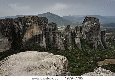Meteora rocks from sandstone and conglomerate in Greece on the Thessalian plain