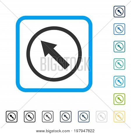 Up-Left Rounded Arrow icon inside rounded rectangle frame. Vector illustration style is a flat iconic symbol in some color versions.