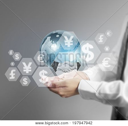 Globe ,earth in human hand, hand holding planet and money currency symbol spin around the globe. Earth image provided by Nasa, financial concept