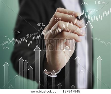 Businessman drawing graphic of double exposure financial indicator and stock market in accounting market economy analysis, display data of growing business with bar, line chart on visual touch screen