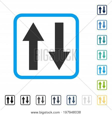 Vertical Flip Arrows icon inside rounded rectangle frame. Vector illustration style is a flat iconic symbol in some color versions.