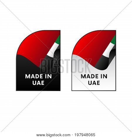 Stickers Made in United Arab Emirates. UAE. Vector illustration.