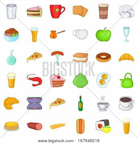Small cafe icons set. Cartoon style of 36 small cafe vector icons for web isolated on white background