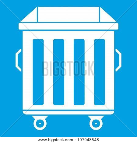 Dumpster on wheels icon white isolated on blue background vector illustration