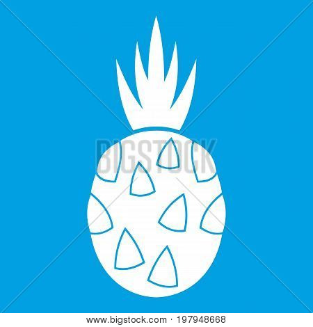 Pitaya, dragon fruit icon white isolated on blue background vector illustration