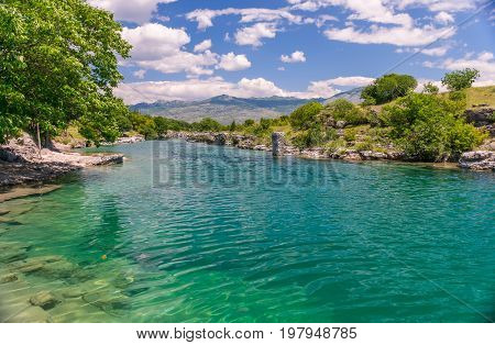 The Mouth Of The Picturesque And Fast River Tsievna. Niagara Falls. Montenegro, Podgorica.
