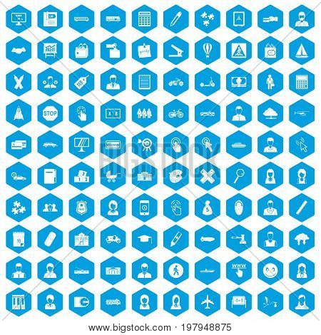 100 initiation icons set in blue hexagon isolated vector illustration