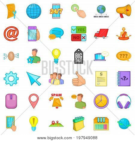 Operator icons set. Cartoon style of 36 operator vector icons for web isolated on white background