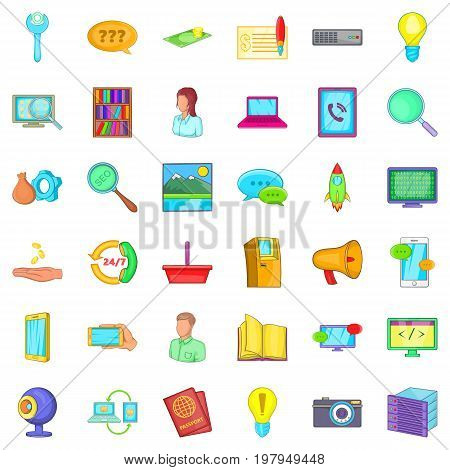 Support service icons set. Cartoon style of 36 support service vector icons for web isolated on white background