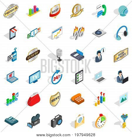 Support service icons set. Isometric style of 36 support service vector icons for web isolated on white background