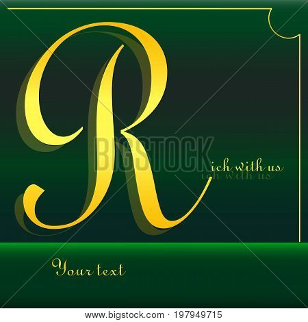 Logo about wealth / badge for business cards / letter R