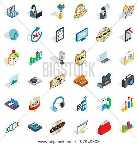 Service operator icons set. Isometric style of 36 service operator vector icons for web isolated on white background