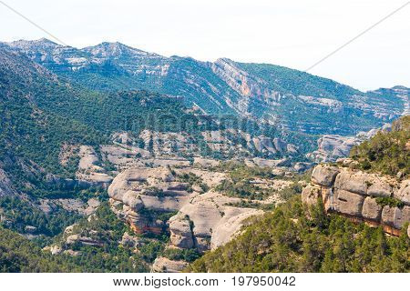 The Cliffs In The Province Of Catalunya, Spain. Copy Space For Text.