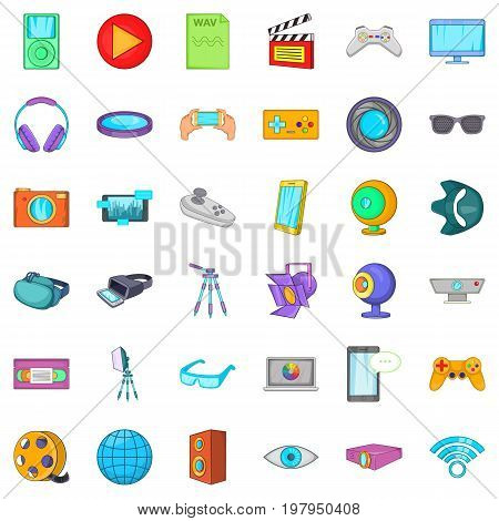 Screen film icons set. Cartoon style of 36 screen film vector icons for web isolated on white background
