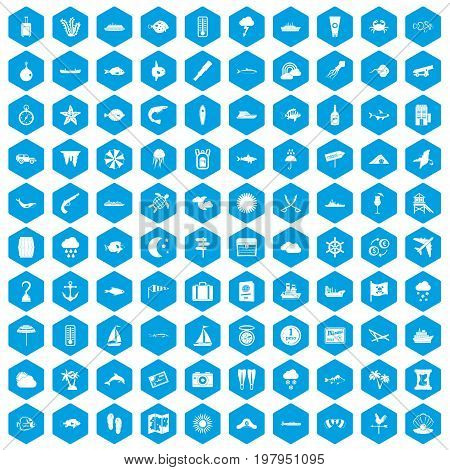 100 marine environment icons set in blue hexagon isolated vector illustration