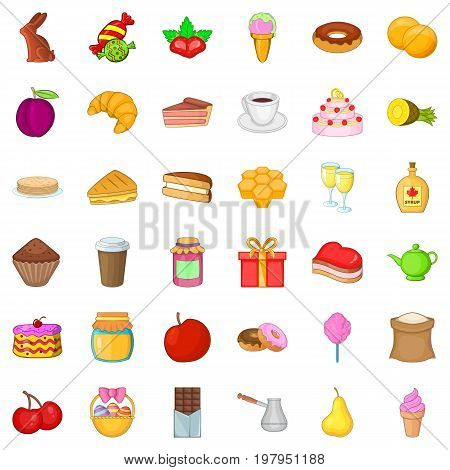 Candy dessert icons set. Cartoon style of 36 candy dessert vector icons for web isolated on white background