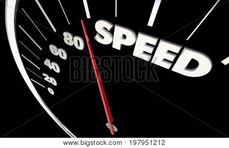 Speed Fast Acceleration Speedometer Measure Results 3d Illustration