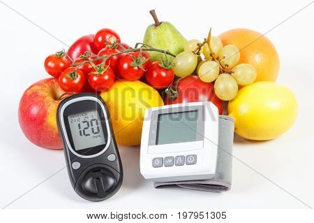 Glucose Meter, Blood Pressure Monitor And Fresh Fruits With Vegetables, Healthy Lifestyle Concept