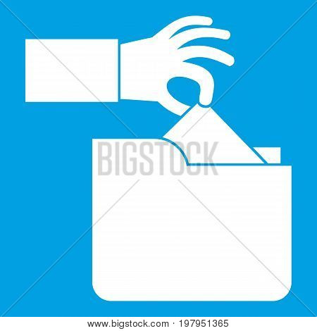 Robbery secret data in folder icon white isolated on blue background vector illustration
