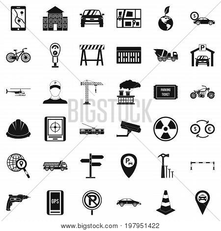 Car gps icons set. Simple style of 36 car gps vector icons for web isolated on white background