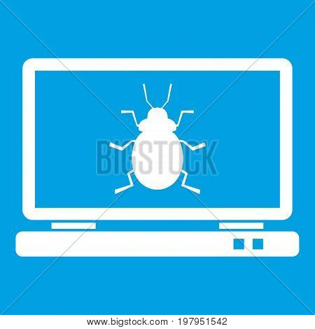 Laptop icon white isolated on blue background vector illustration