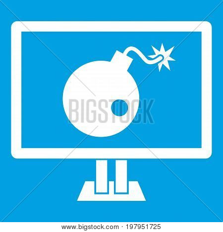 Bomb on computer monitor icon white isolated on blue background vector illustration