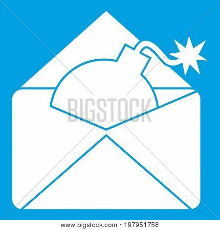 Envelope with bomb icon white isolated on blue background vector illustration