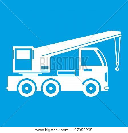 Truck mounted crane icon white isolated on blue background vector illustration