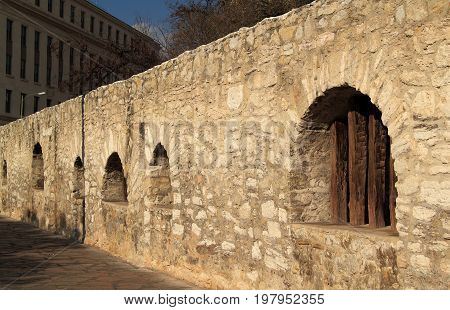 Fortified section of Mission San Antonio de Valero, better known as the Alamo, in downtown San Antonio, Texas