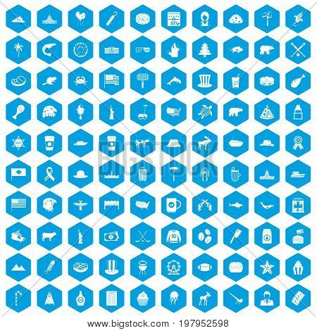 100 North America icons set in blue hexagon isolated vector illustration