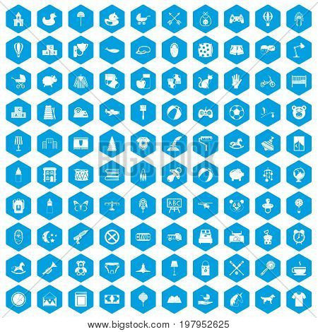 100 nursery icons set in blue hexagon isolated vector illustration