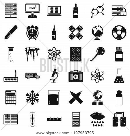Chemistry icons set. Simple style of 36 chemistry vector icons for web isolated on white background
