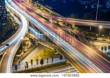 Chengdu - flyover aerial view at night, Sichuan Province, China