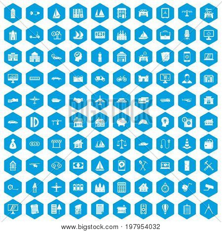 100 private property icons set in blue hexagon isolated vector illustration