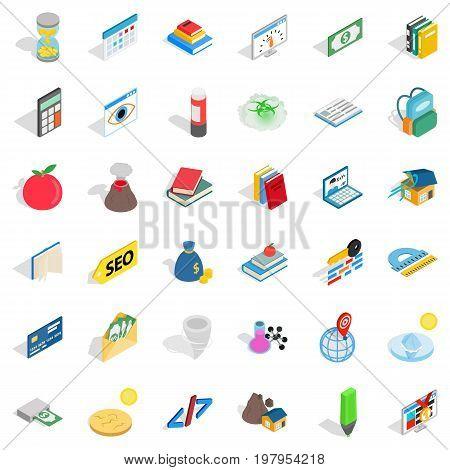 Chemistry education icons set. Isometric style of 36 chemistry education vector icons for web isolated on white background