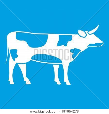 Switzerland cow icon white isolated on blue background vector illustration