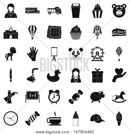 Kindergarten icons set. Simple style of 36 kindergarten vector icons for web isolated on white background
