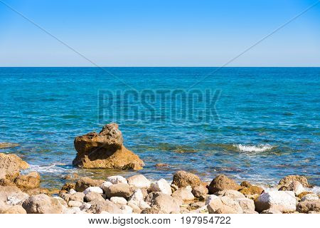 Beach Landscape. Stone Beach In Miami Platja, Tarragona, Catalunya, Spain. Copy Space For Text.