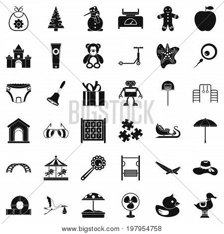 Happy childhood icons set. Simple style of 36 happy childhood vector icons for web isolated on white background
