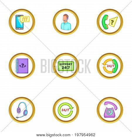 Online support icons set. Cartoon set of 9 online support vector icons for web isolated on white background