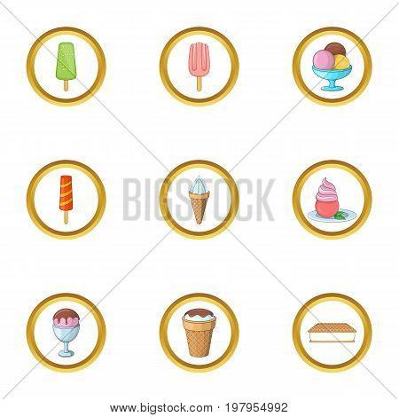 Ice cream assortment icons set. Cartoon set of 9 ice cream assortment vector icons for web isolated on white background