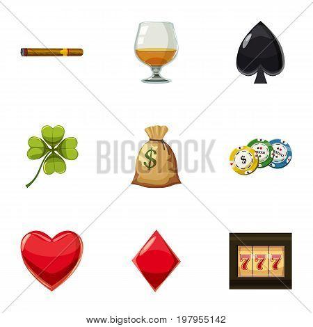 Big jackpot icons set. Cartoon set of 9 big jackpot vector icons for web isolated on white background