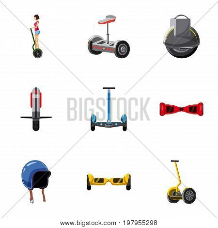 Electric scooter icons set. Cartoon set of 9 electric scooter vector icons for web isolated on white background