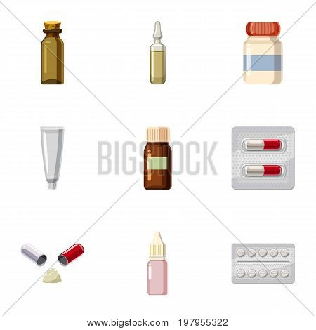 Pharmacy icons set. Cartoon set of 9 pharmacy vector icons for web isolated on white background