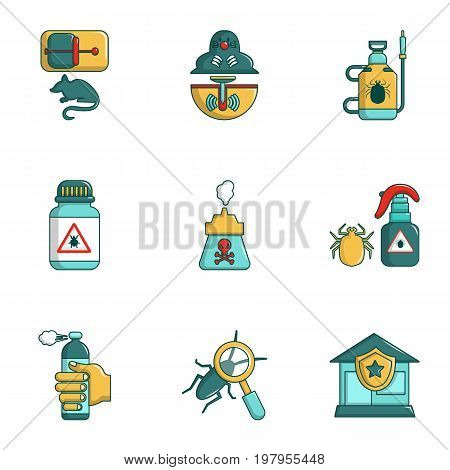 Exterminators of insects icons set. Cartoon set of 9 exterminators of insects vector icons for web isolated on white background