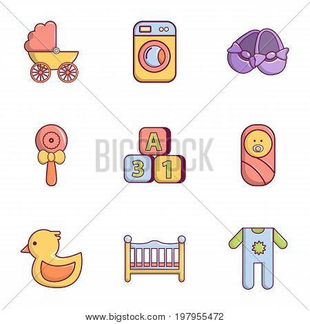 Baby born icons set. Flat set of 9 baby born vector icons for web isolated on white background