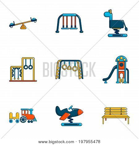 Outdoor sports ground icons set. Flat set of 9 outdoor sports ground vector icons for web isolated on white background