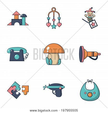 Girl toys icons set. Flat set of 9 girl toys vector icons for web isolated on white background